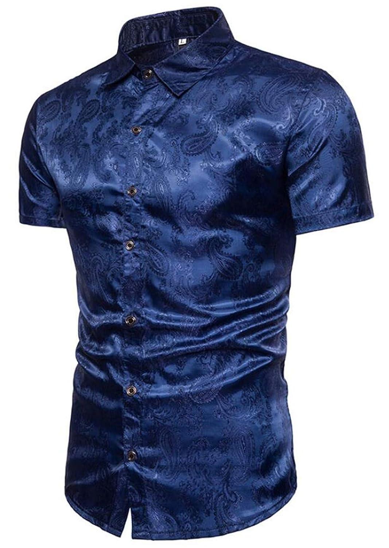 GRMO Men Metallic Silver Nightclub Short Sleeve Button Dress Shirts