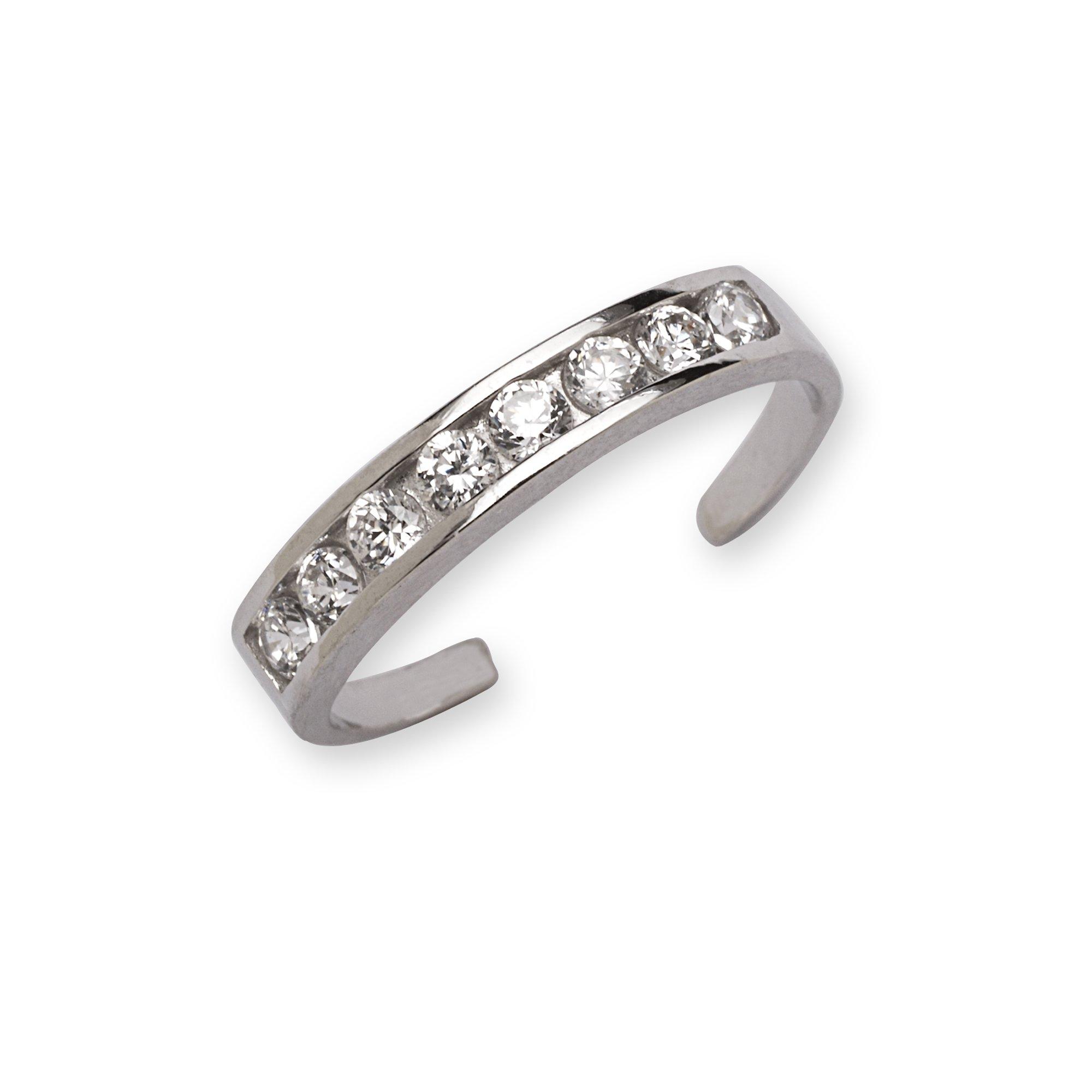 14k White Gold CZ Adjustable Elegant Multistone Body Jewelry Toe Ring