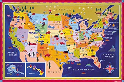 Geographical Map Of United States.Eeboo United States Geographical Map This Land Is Your Land