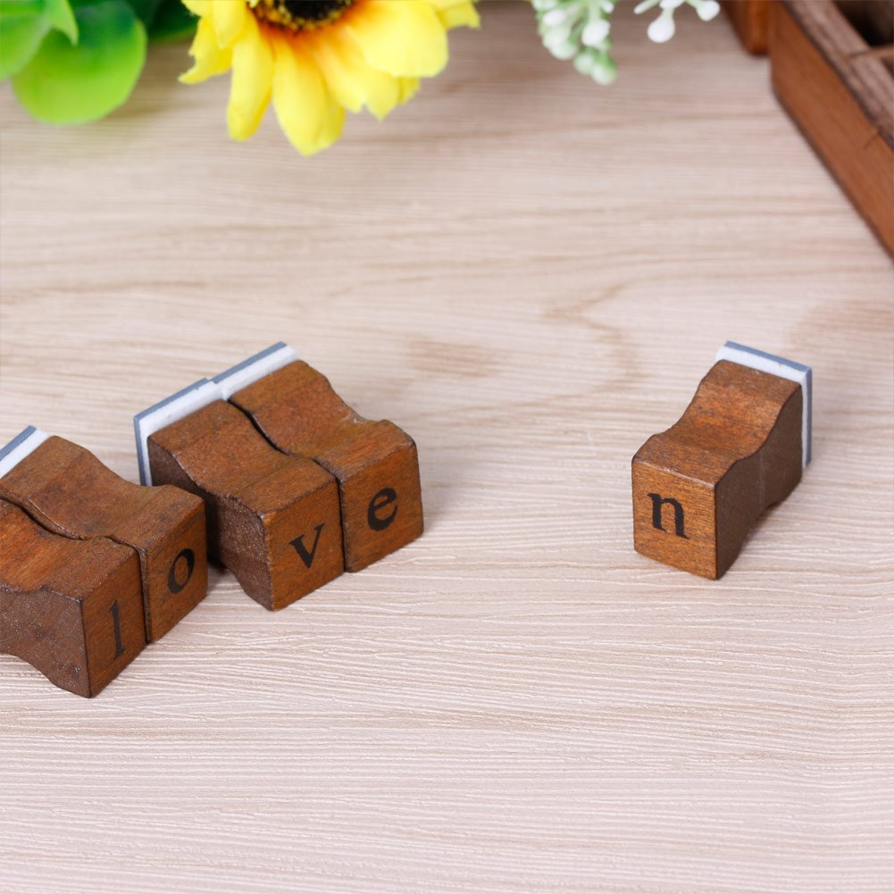 Jenor 30Pcs retro lettera dell alfabeto maiuscolo minuscolo timbro in legno Set Craft # 009