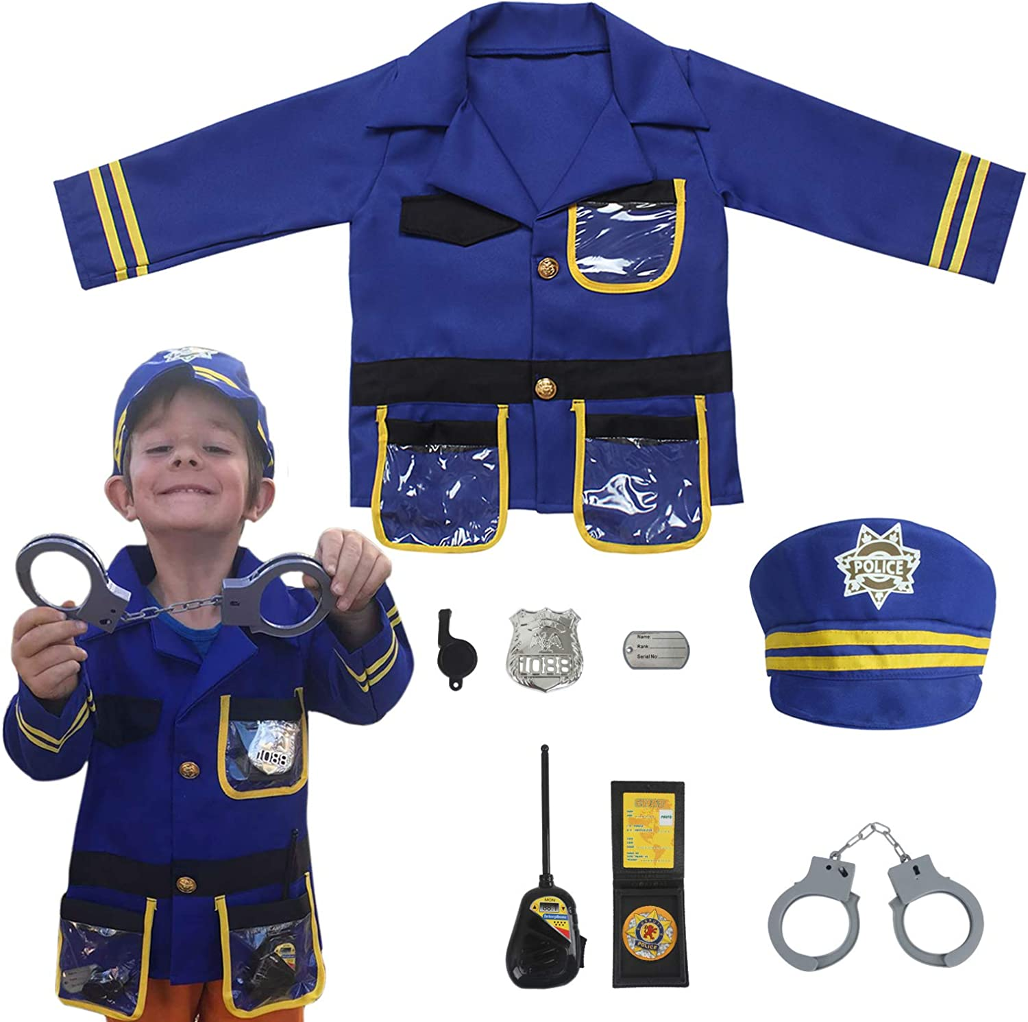 Ages 3-6 yrs Blue Sepco Police Officer Costume for Kids Role Play Kit with Cop Dress Up Costume Accessories
