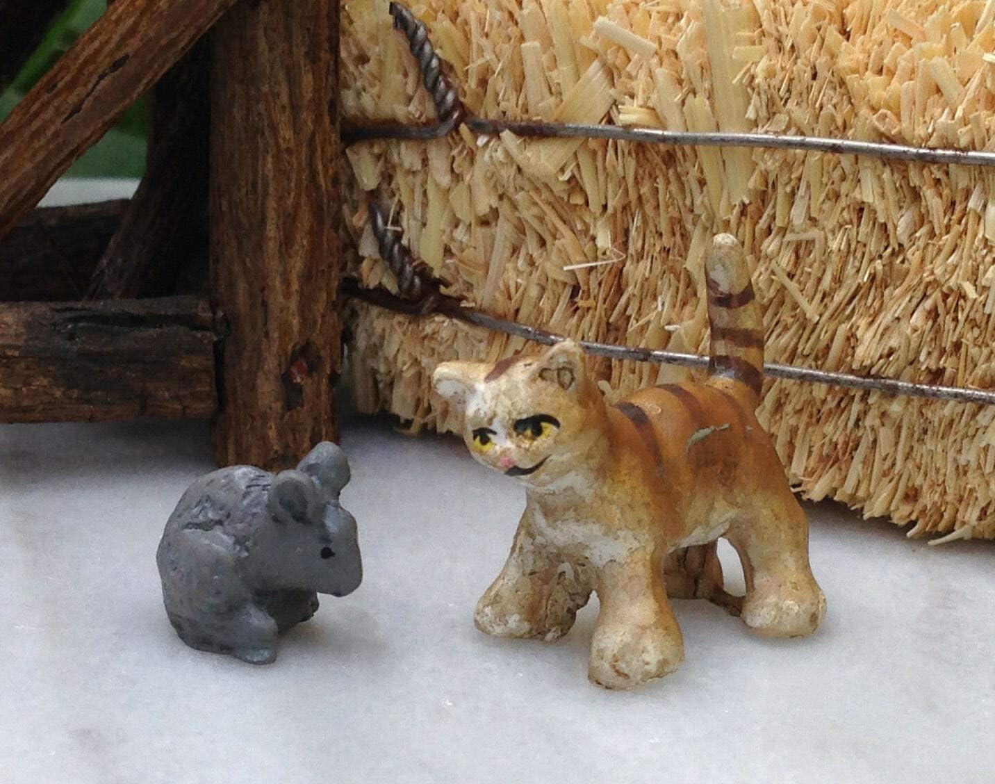 Miniature Dollhouse Fairy Garden Accessories Tiny Tabby Cat & Gray Mouse