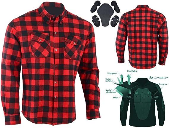 Australian Bikers Gear camisa de cuadros roja/negro en Kevlar con protecciones para Moto talla S: Amazon.es: Deportes y aire libre
