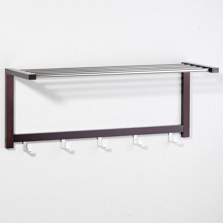 IDIMEX Porte-Manteaux Mural pat/ères Armin Structure pin Massif laqu/é Brun Tablette m/étal