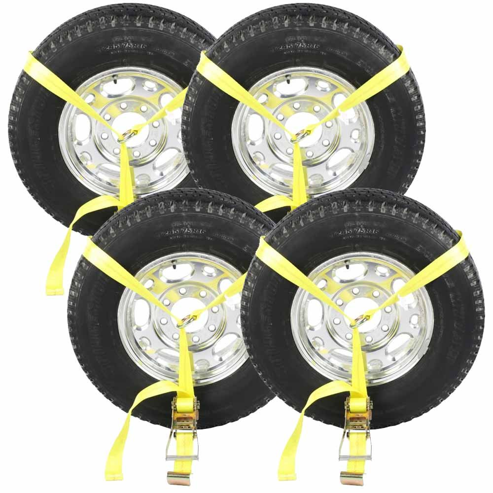 Amazon.com: Side Mount Wheel Net with Ratchet and Flat Hook (Single) - Car  Tie Down - 4 Pack: Automotive