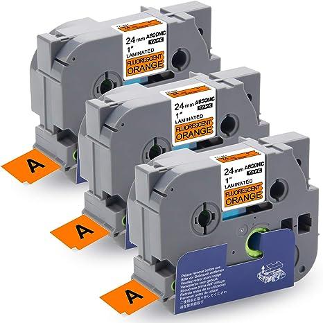 "3PK TZ-B51 Black on Fluo Orange Label Tape 0.94/"" For Brother P-Touch PT-D600VP"