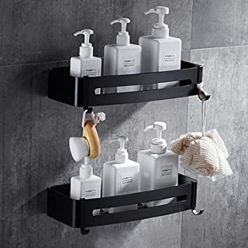 2 Piezas Estante de baño cuadrado, Liesun Estanteria Ducha sin Taladros Almacenamiento Organizador, Estantes de Baño de Aluminio Espacial, Negro