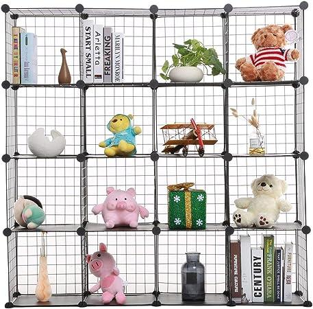 a cubo in Filo Metallico salvaspazio Nero Blackpoolal Portatile Organizer Aperto per Libri Multifunzione Vestiti 12 cubi Libreria Fai da Te Giocattoli