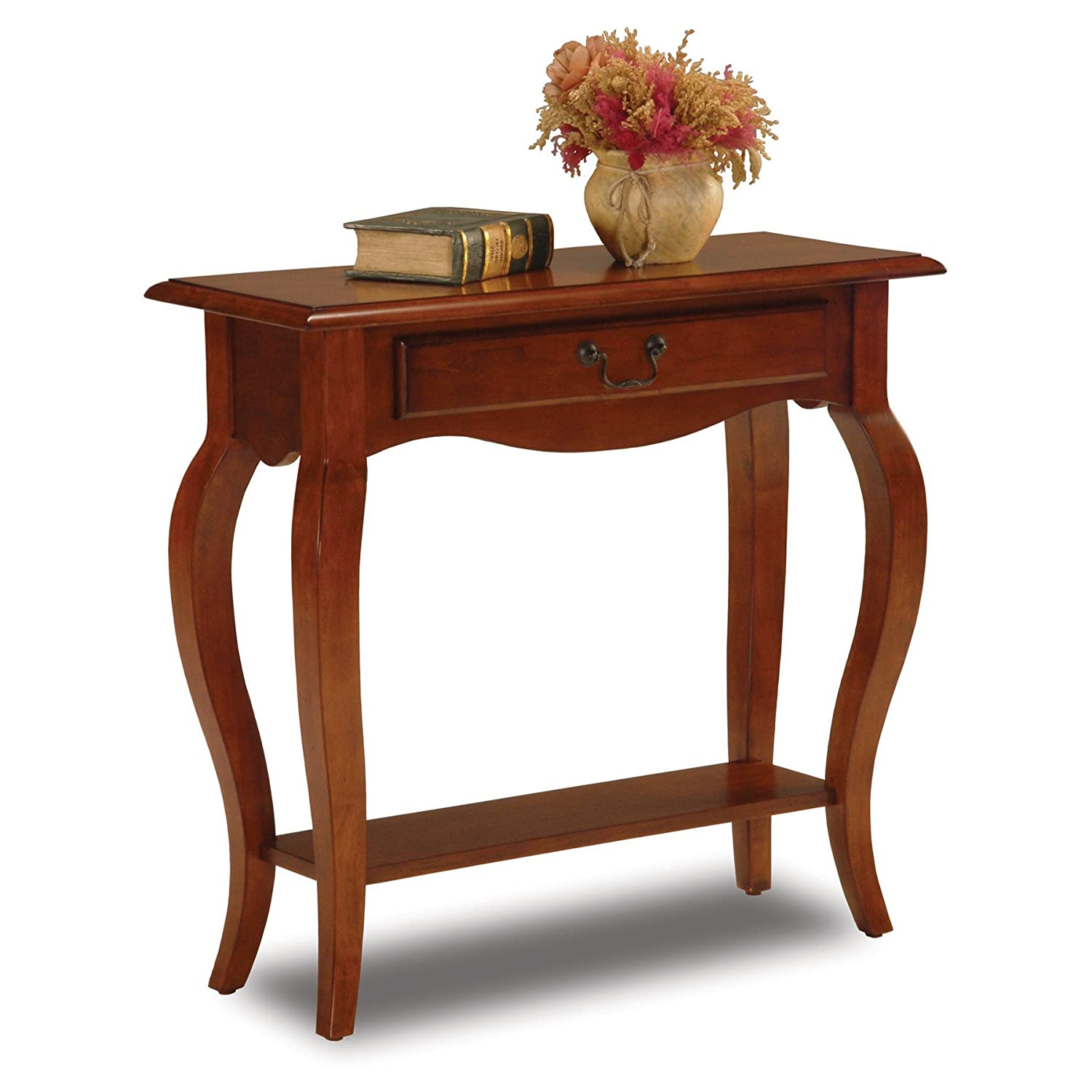 amazoncom leick french hall console table brown cherry kitchen u0026 dining
