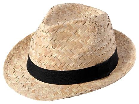 Paja de sombrero negro con cinta de porcelana (pequeño) 190300 muy elegante  Cascos estival e4361f521dd