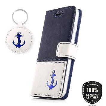 Farbe Blau Premium Echtes Ledertasche Schutzhülle Tpu Wallet Flip Case Nubuk Handys & Kommunikation