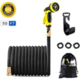 Dpowro Expandable Garden Hose, 50 FT Latex Water Hose, 9 Pattern Spray Nozzle with Solid Brass Connectors, Woven Flexible Water Hose for Cleaning, Car Washing, Pet Bath