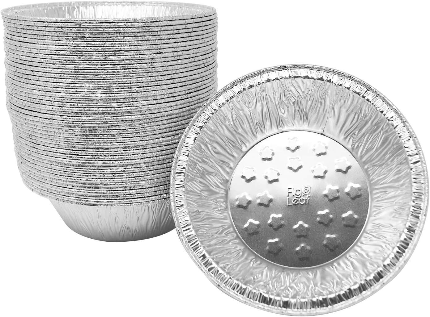 Premium 9-Inch Pie Pans l 36 Gauge l Disposable Tart Pan Tin Plates Aluminum Foil for Baking Quiche 30 Pack Fig /& Leaf