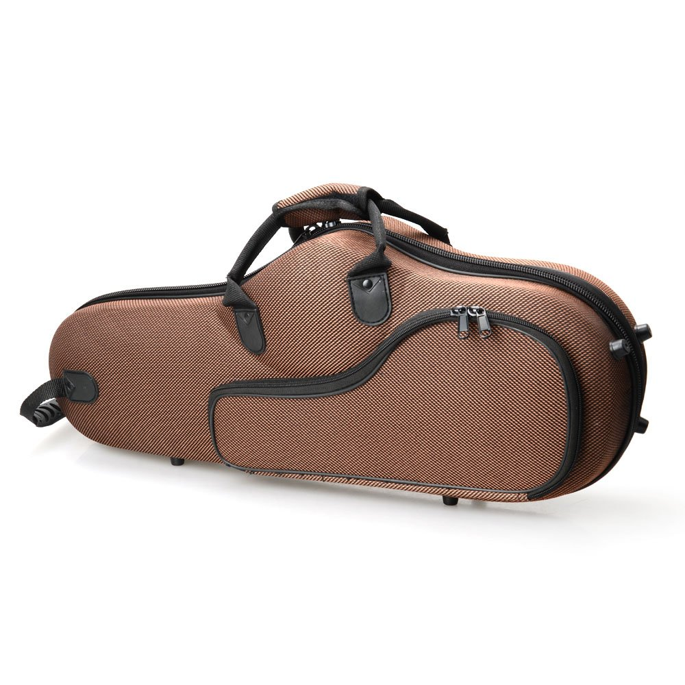 Festnight High Grade Cloth Saxophone Case with Leather Surface for Alto Saxophone Brown 25.59'' x 10.04'' x 5.12'' (L x W x H)