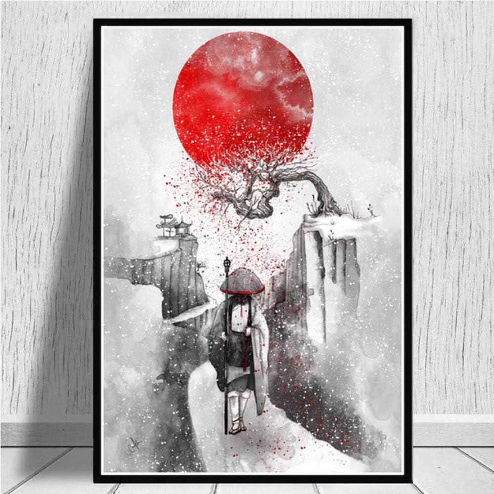 Cuadro En Lienzo,Monje Bajo Árboles De Cerezos Japoneses Non-Woven Carteles Mural,Arte Abstracto Ukiyo-E Imagen 3D Pared Vertical Pintar Ilustraciones Dormitorio Decoraciones Home Office,50Cm*70Cm S