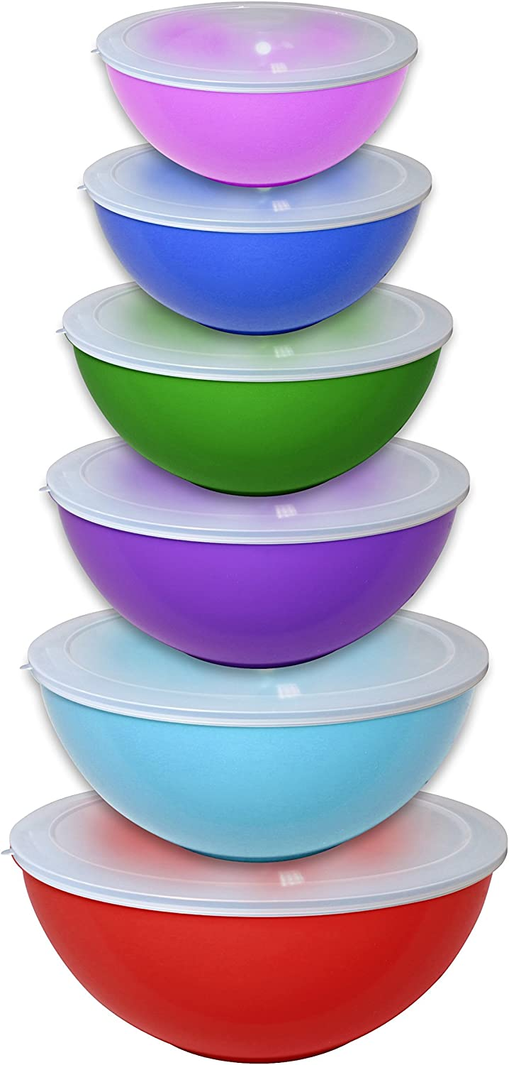 Gourmet Home Products 12 Piece Nested Polypropylene Mixing Bowl Food Storage Set with Lids, Deep Red (139813)