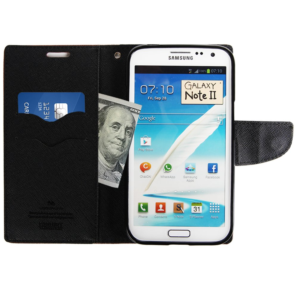 Galaxy Note 2 Case Drop Protection Goospery Fancy Samsung 8 Diary Navy Lime Wallet Synthetic Saffiano Leather Id Card Slots Cash Slot Stand