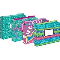 Barker Creek Designer File Folders Set of 12, Bohemian, Multi-Design, Playful Patterns on Outside, Solid Colors on…