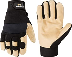 Men's Hi-Dexterity Leather Work Gloves, Ultra Comfort, Stretch Fit, Medium (Wells Lamont 3214M) , Black