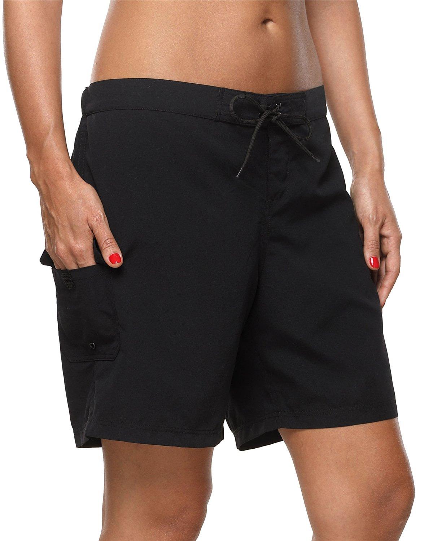 ALove Women Swim Board Shorts Loose Fit Swimming Shorts Surf Shorts Black Large