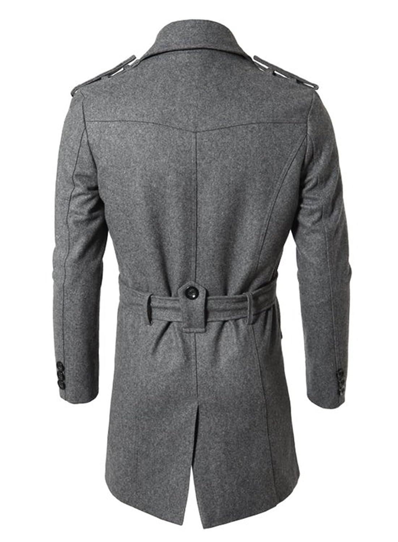 Herren Mid-Long Knopfleiste Kragen Double Breasted Slim Fit Winter Wolle  Mäntel: Amazon.de: Bekleidung