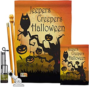 Breeze Decor FK112008-BO Jeepers Creepers Fall Halloween Decorative Vertical Kit, 1 x House & 1 x Garden, Large & Small Flags Set w Hardware