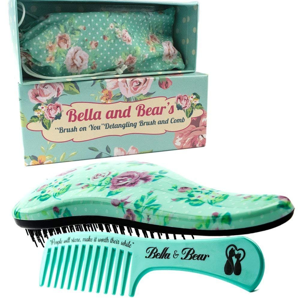 Detangling Hair Brush and Comb Set, the Best Detangler Brush for Wet or Dry Hair, no more tangles, no more tears by Bella & Bear Bella and Bear MR2174