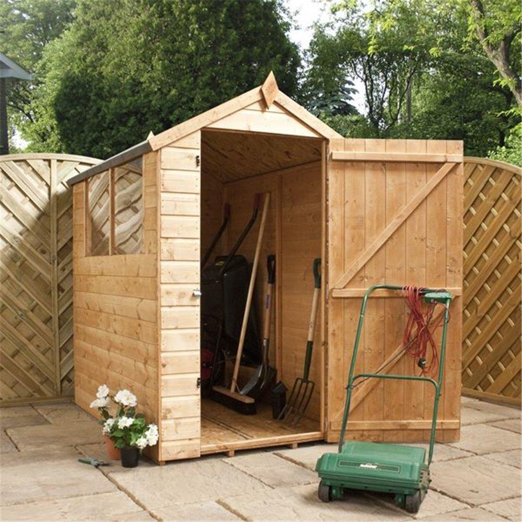 6 ft x 4 ft Apex machihembrados y caseta de jardín de madera con puerta + 2 Windows (Suelo OSB sólido de 10 mm): Amazon.es: Jardín