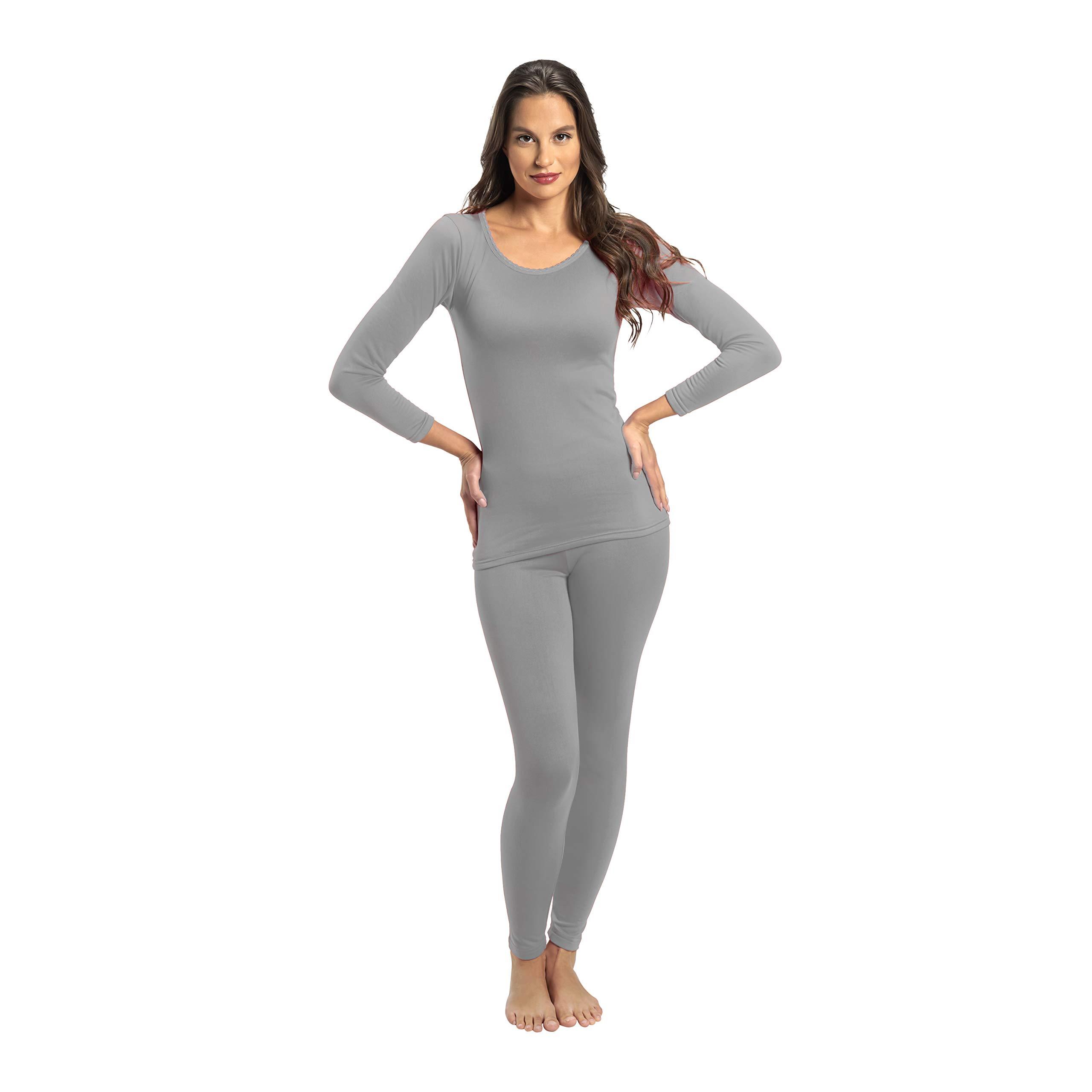 Rocky Thermal Underwear for Women Fleece Lined Thermals Women's Base Layer Long John Set Grey by Rocky