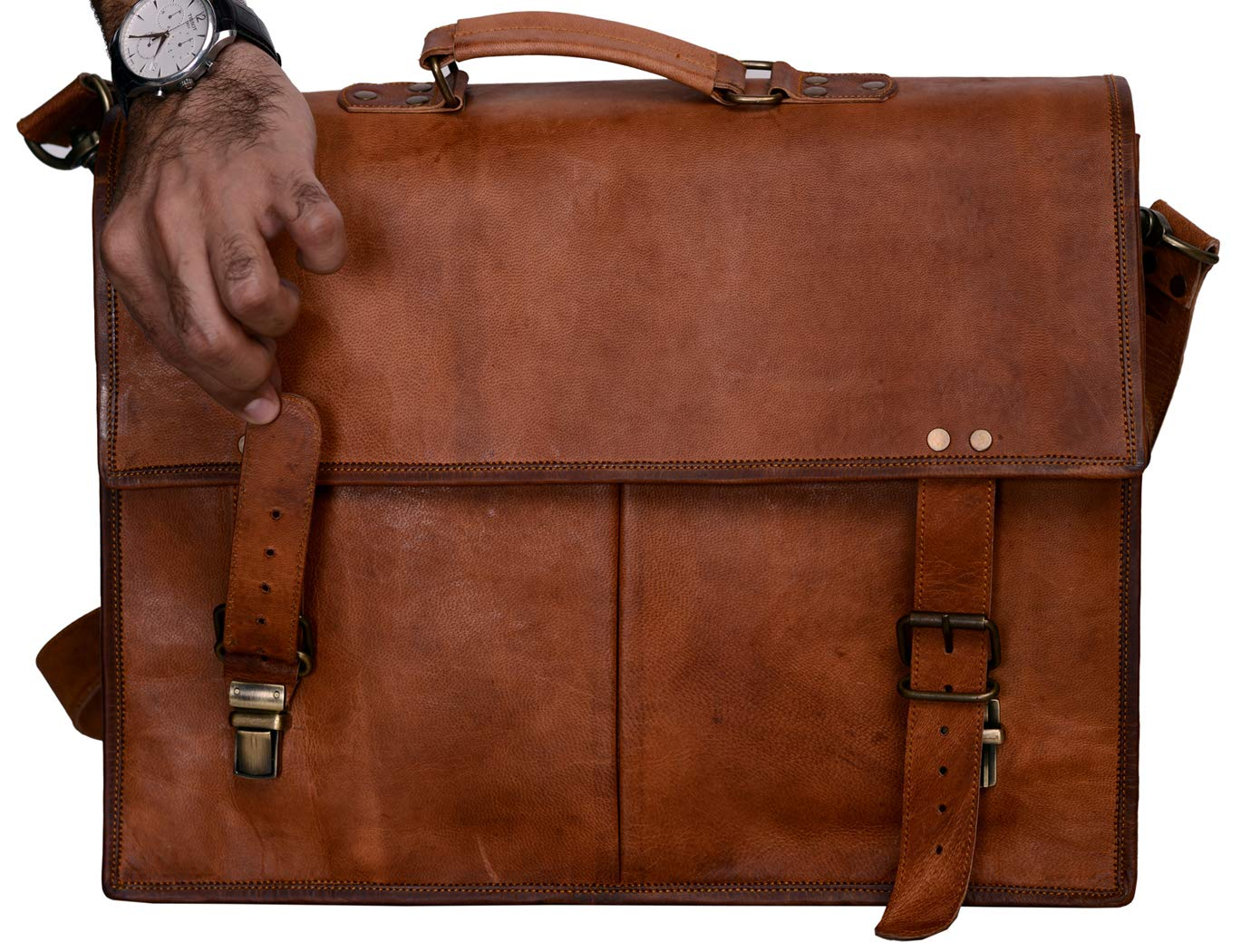 f89b1b1176 ... PL Leather Messenger Bag 16   Brown Leather Briefcase Retro Handbag  Satchel   Hip ...