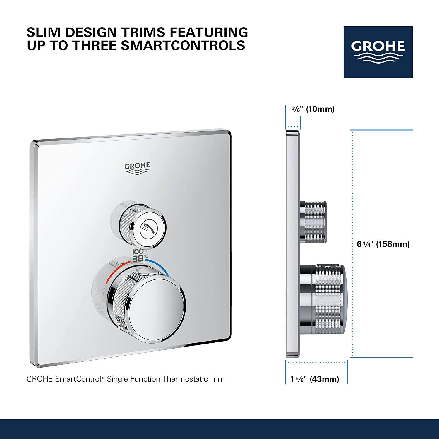 Grohe 29140000 Grohtherm Smart Single Function Thermostatic Trim with Control Module Starlight Chrome - - Amazon.com