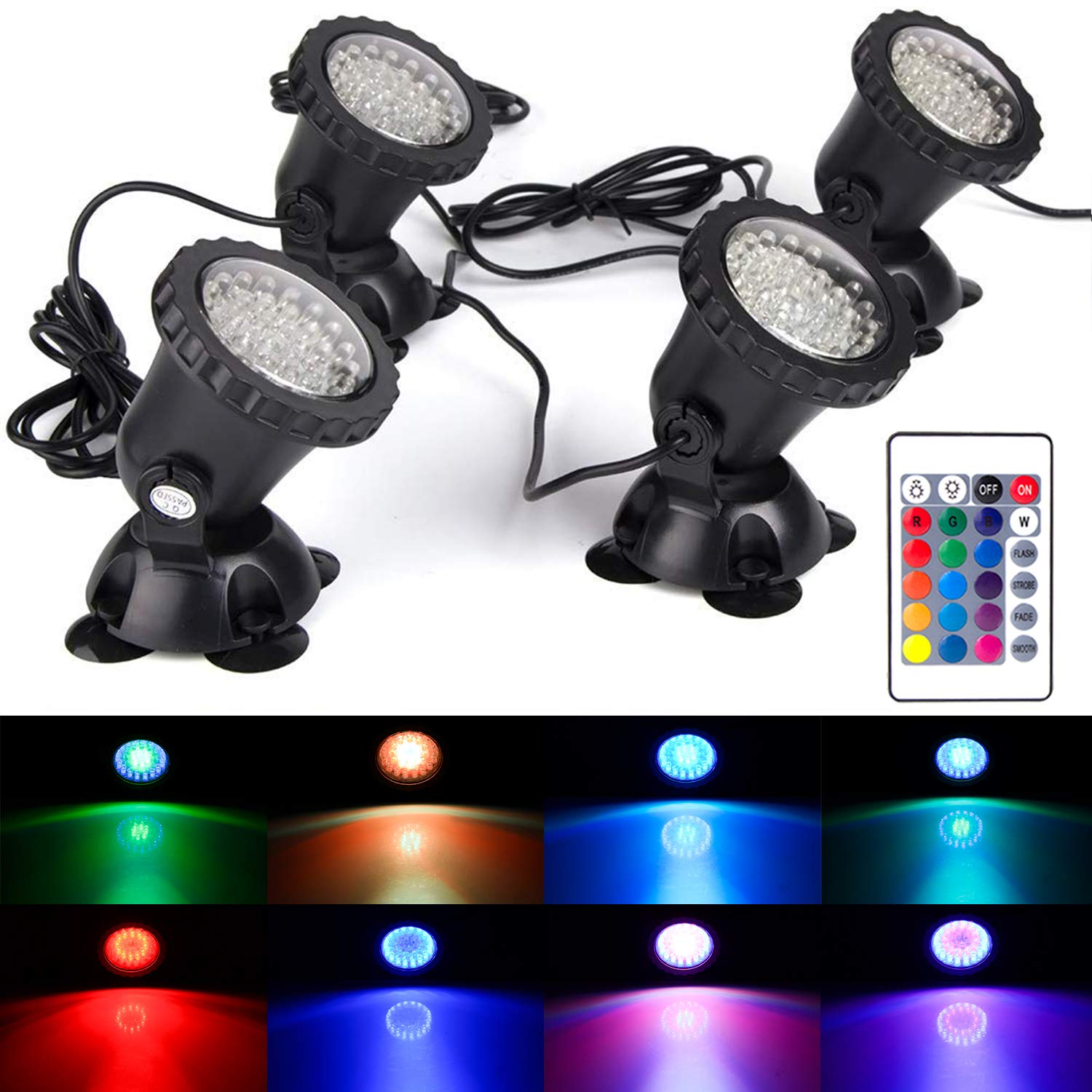 S SMIFUL Lawn Light Waterproof IP68 Submersible Spotlight with 36 LED Color Changing Spot Light for Aquarium Garden Pond Pool Tank Fountain Waterfall (Set of 4)