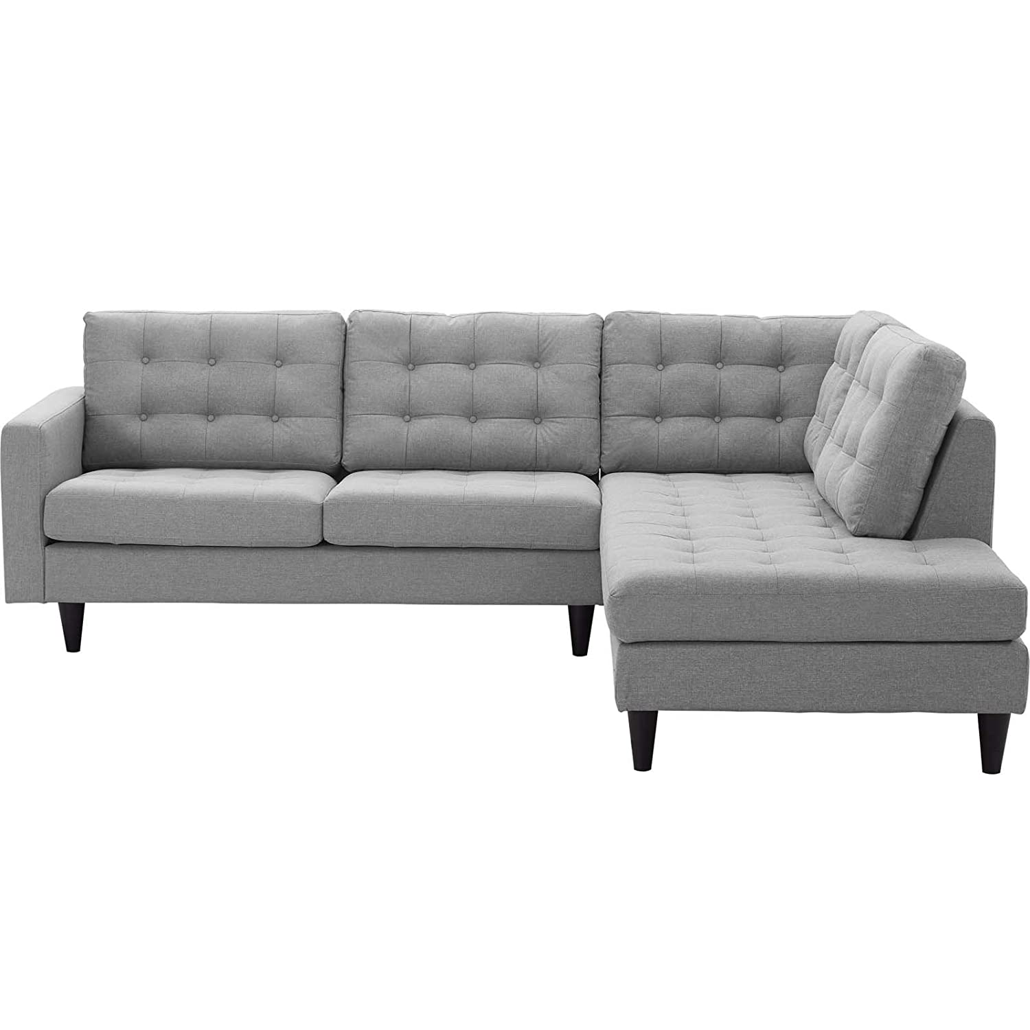 Modway EEI-2797-LGR Empress Upholstered Fabric Living Room, Right-Facing Bumper Sectional Sofa Set, Light Gray