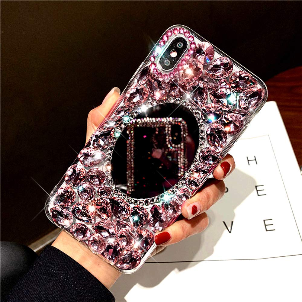 Diamond Case for iPhone XS/X Cover,3D Handmade Bling Rhinestone Diamonds Luxury Sparkle Mirror Case Girls Women Full Crystals Bling Diamond Soft TPU Bumper Case Cover for iPhone XS/X Mirror Case,Pink by ikasus