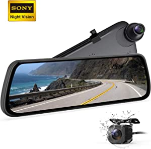BOSCAM Mirror Dash Cam Sony IMX Sensor Dash Camera for Cars, Backup Camera with Night Vision 9.35″ Laminated and Anti-Glare Display, 1080P Dual Dash Cam with Streaming Media (R2)
