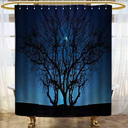 Lacencn Navy BlueShower Curtains With Shower HooksTree Under Clear Night Sky