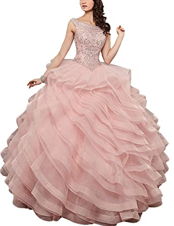 04d0fb9bd 20KyleBird Women s Sleeveless Beaded Quinceanera Dresses for Juniors Sweet  16 Crystal Ruffles Prom Ball Gowns Plus Size at Amazon Women s Clothing  store