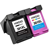 HWDID 301 XL Ink Cartridges Replacement for HP 301XL (1 Black,1 Tri-colour) CH561EE CH562EE High Yield for Deskjet 1000 1050A 1510 2050 2540 2544 3050A 3055A ENVY 4500 4502 5530 Officejet 4630