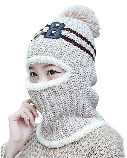 Spikerking Womens Thick Knit Balaclava Beanie Windproof Ski Face