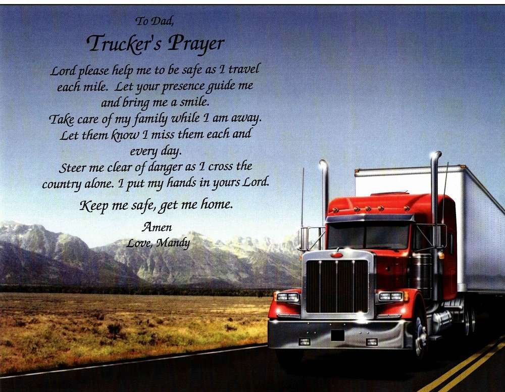 Amazon.com: Names To Remember CUSTOMIZED TRUCKER\'S PRAYER Gift on ...