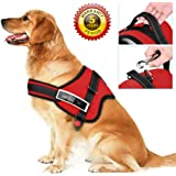 No Pull Dog Vest Harness, Adjustable Pet Body Padded Vest with Reflective Stitching and Control Handle for Small Medium Large Dog Walking, Training - No More Pulling, Tugging or Choking (XL, Red)