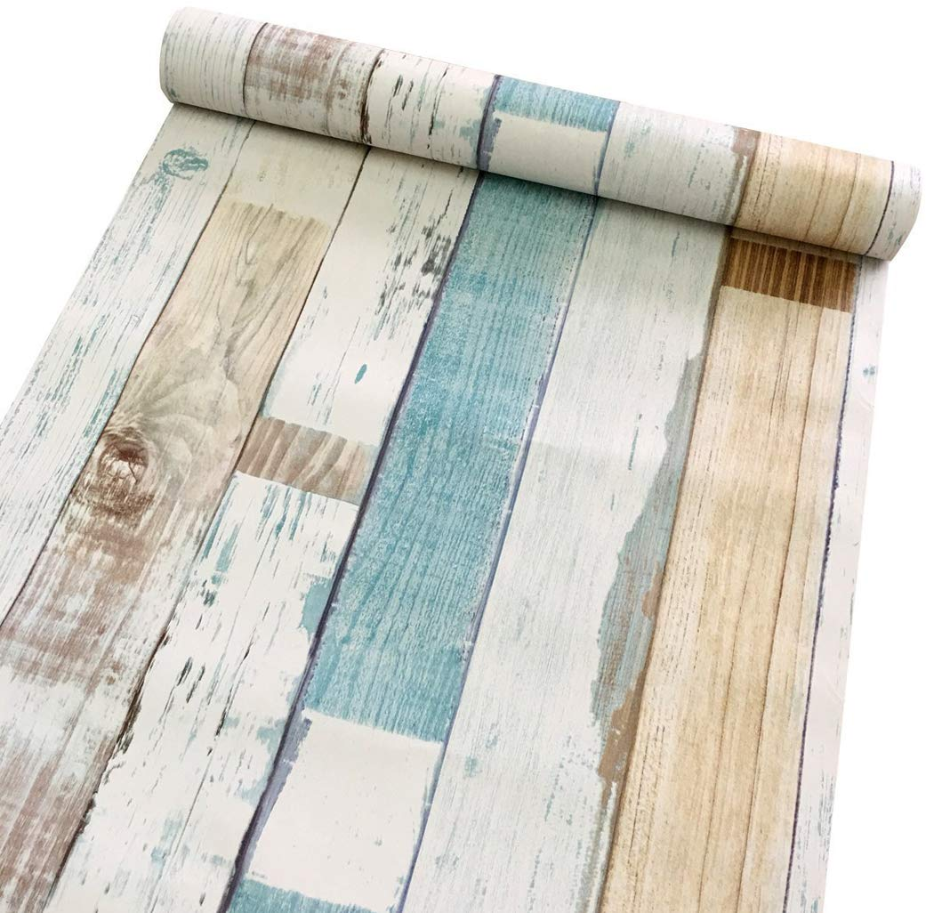 Colorful Wood Plank Contact Paper Self Adhesive Shelf Liner Covering Kitchen Cabinet Drawer Countertop Shelves Door Wall Sticker 17.7 x 196 Inches