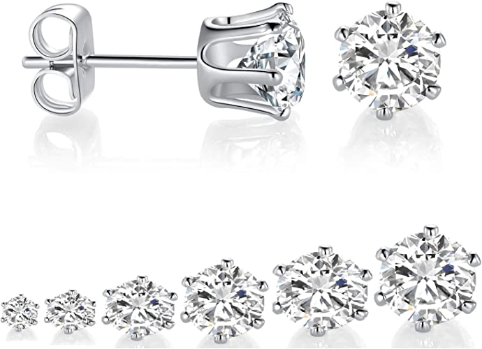 White Gold Finish Sterling Silver Simulated Diamond 5MM Diameter Stud Earring