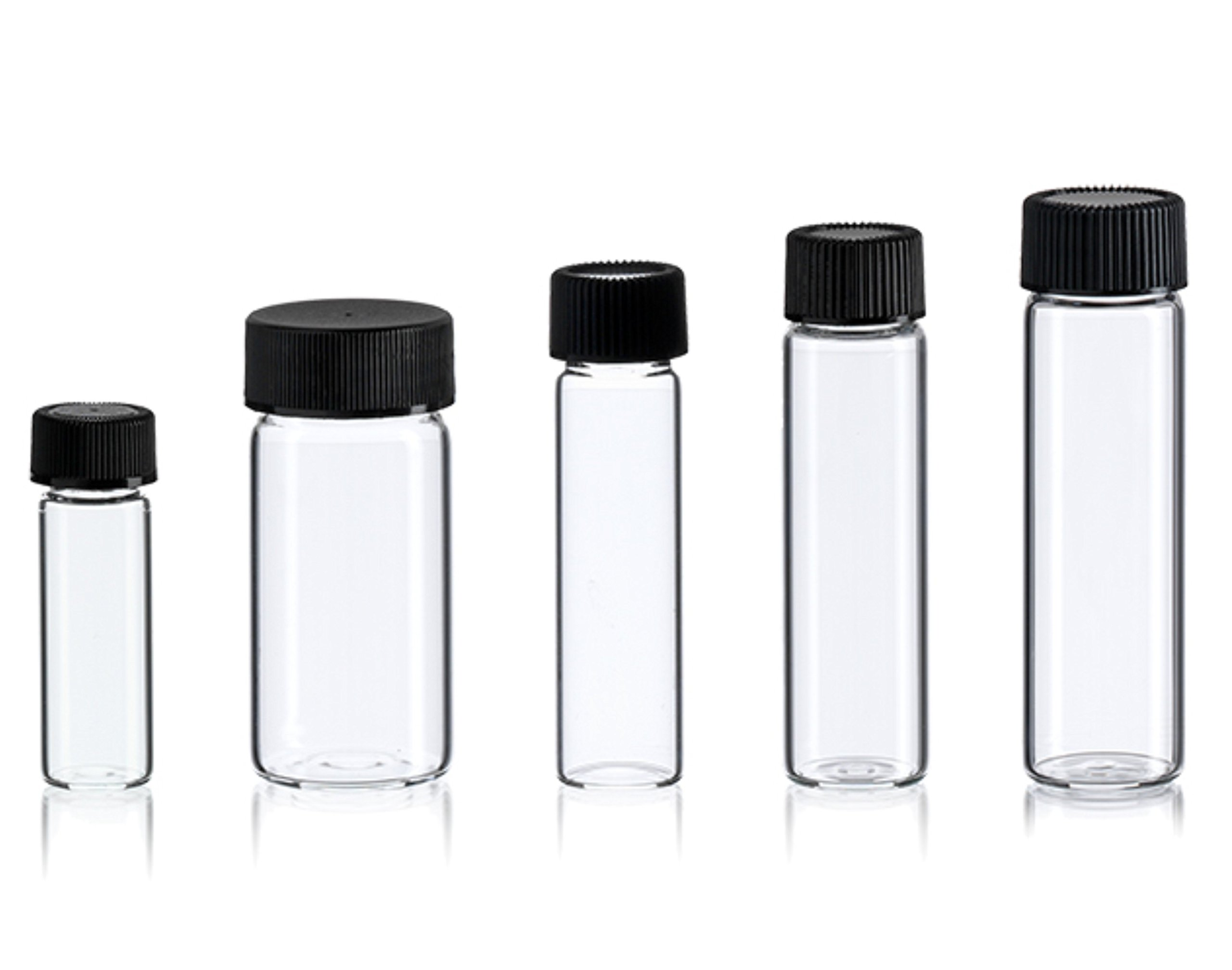 Magnakoys Medium Empty Clear Vial Bottle Assortment w/Caps 1 dram to 5 Dram for dry goods, essential oils, perfumes, and other liquids
