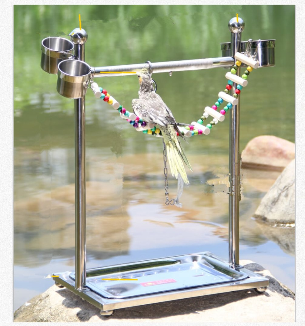Be Good Pet Birds Toys Stainless Steel Bird Standing Perch Play Gym Safe and Durable Playstand for Parakeets Cockatiels Conures Macaws Parrots Love Birds Finches