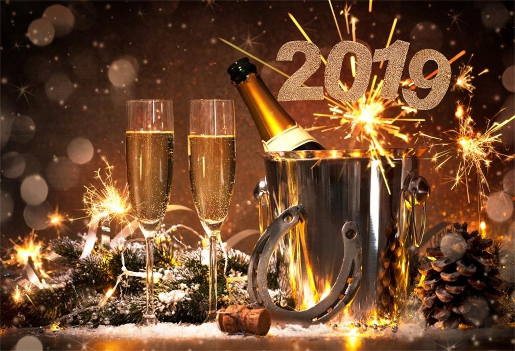 AOFOTO 10x7ft New Year Eve Dinner Table Decor Backdrop 2019 Celebration Good Lucky Clevis Holiday Party Photography Background Champagne Glass Business Event Evening Reception Festival Carnival Props