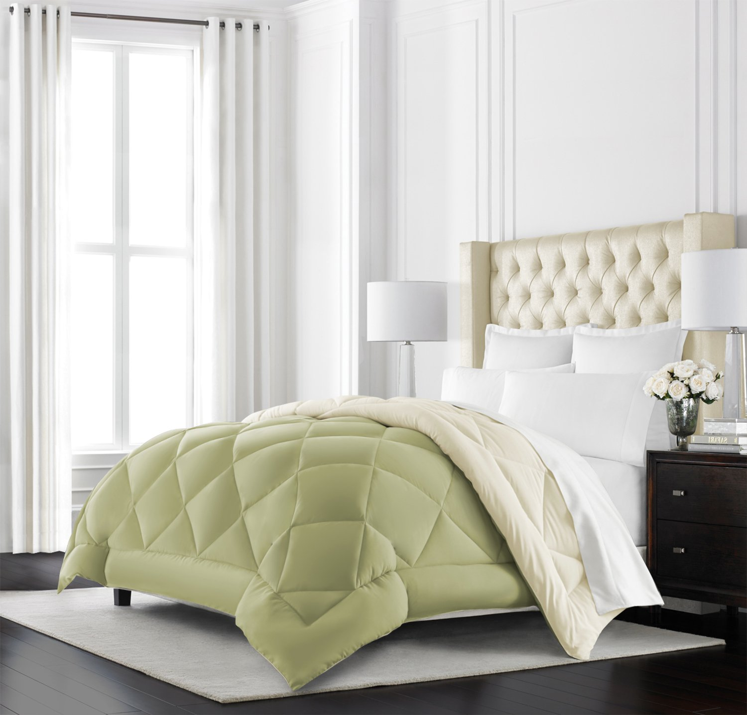 Sage/Ivory Beckham Hotel Collection Goose Down Alternative Reversible Comforter