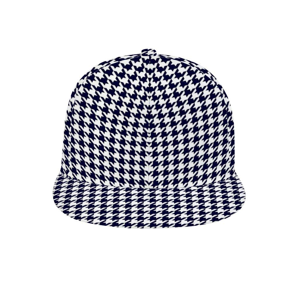 Dongi Navy Blue and White Houndstooth Unisex Full-Print Flat Rubber Ball Cap can Adjust Hip-hop Style