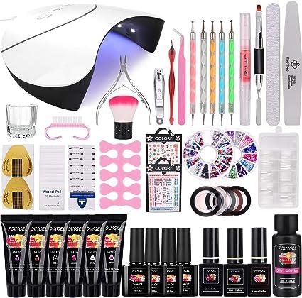 36W Lámpara Kit Uñas de Gel Completo, MYSWEETY Kit de Inicio de Manicura con 6 Extensión 4 Color Gels, Capa Superior, Capa Base y Accesorios para Uñas Semipermanente: Amazon.es: Belleza
