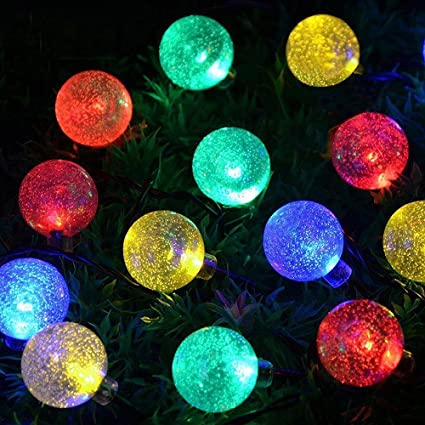kyc globe solar string light 20 feet 30 leds crystal ball fairy bubble waterproof solar lights